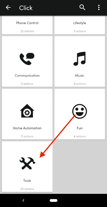 Action configuration screen in the Flic button app