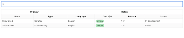 Table UI With Search Functionality