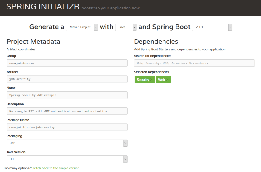 Spring Initializr screenshot