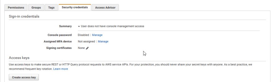 Create user access keys with the AWS Console