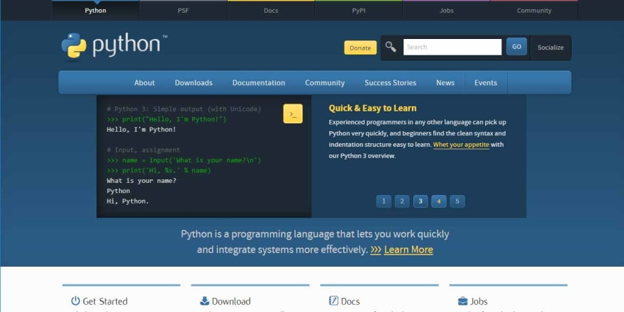 Flask Python Tutorial for beginners - Image with Python official website.