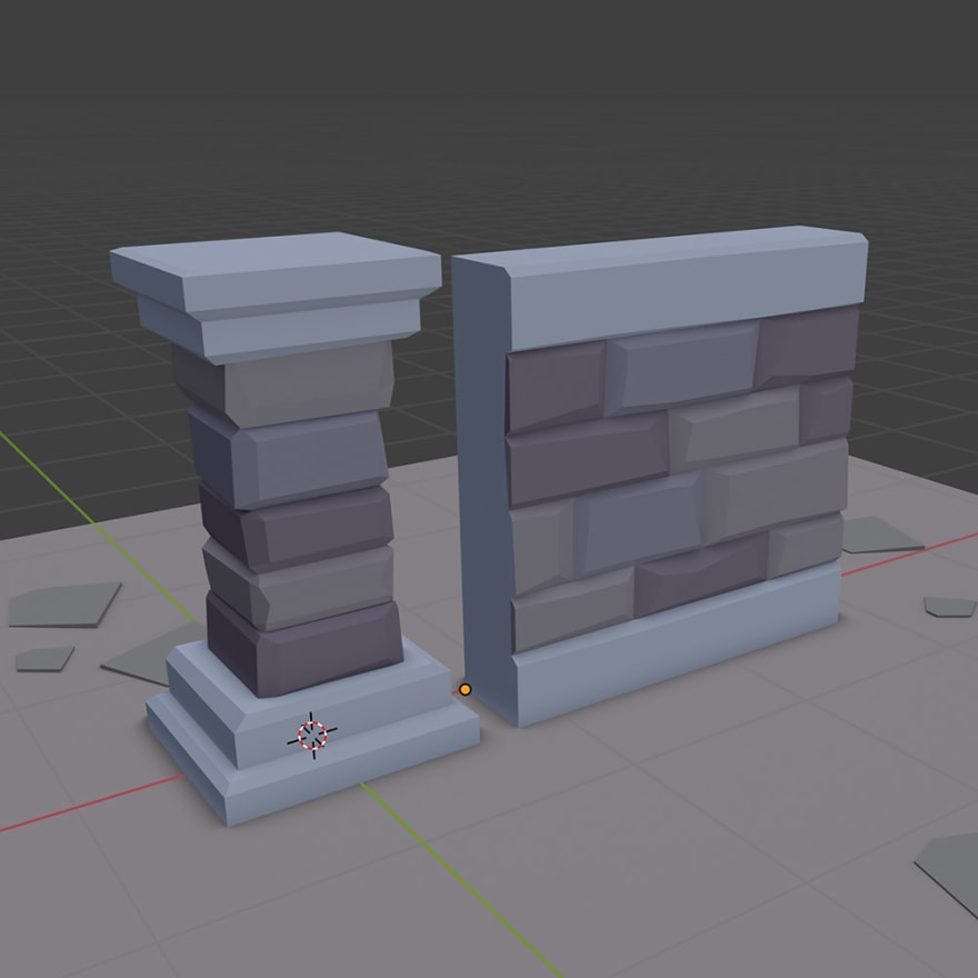 wall with pillars