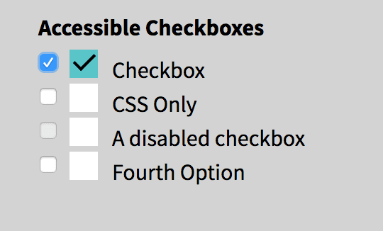 Teal checked box with a normal checked checkbox next to it.