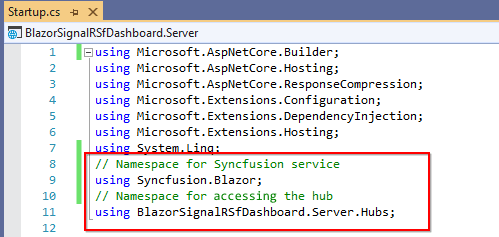 Add the declared Hub namespace in the startup.cs file to register the service.