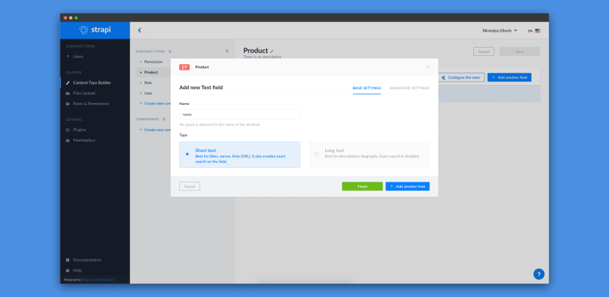 Adding Name text field for Product content-type