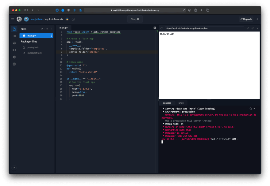 Repl editor showing the Flask app running