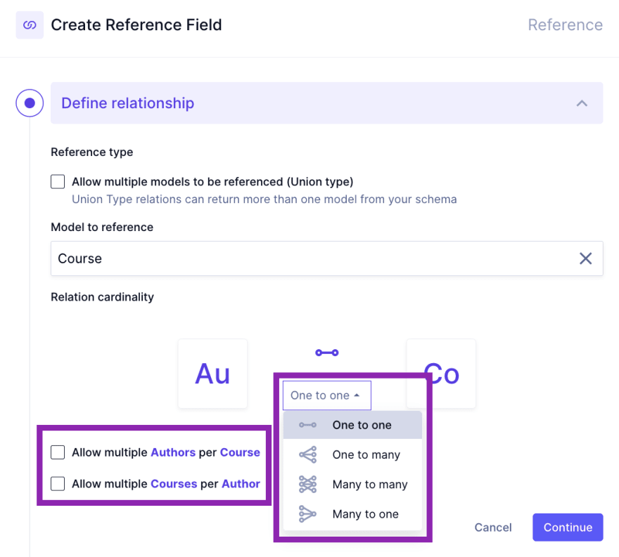 Create a relationship in GraphCMS