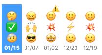 Screenshot of Digamo's emoji timeline