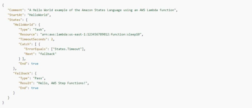 AWS Step Functions: Timeout Catch example