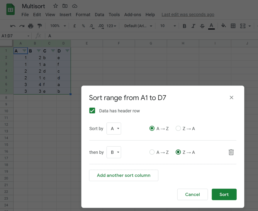 Sort by 2 columns in Google Sheets