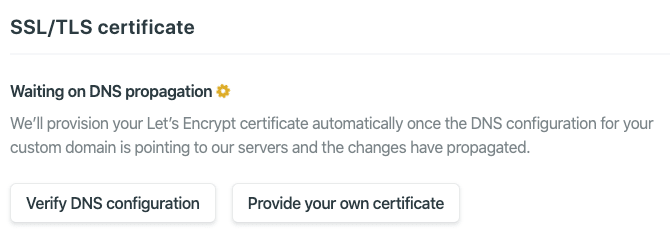 Certificate is being propagated