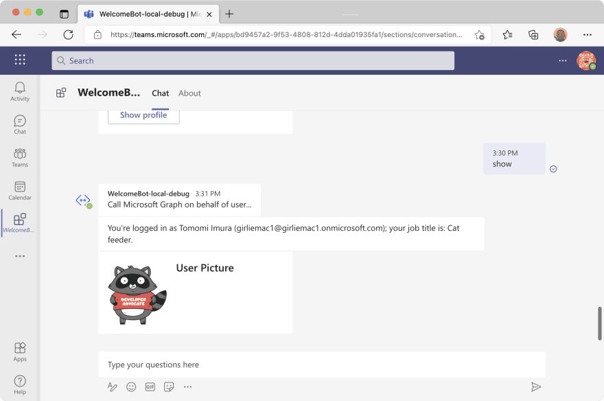 Screenshot - bot showing user info