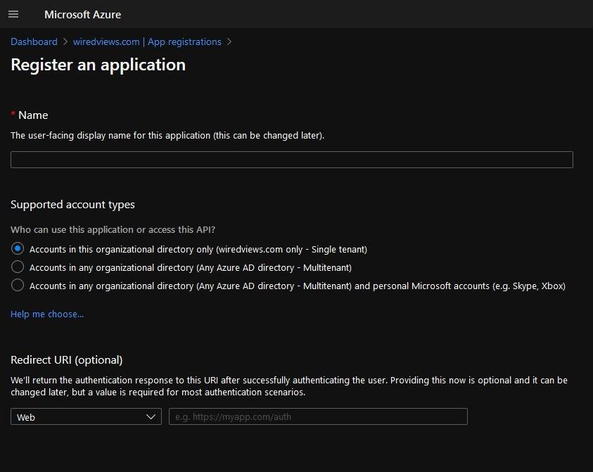 Setting application Redirect URI in Azure