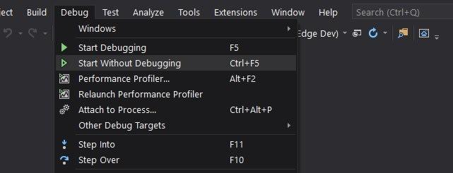 Debugging menu option in Visual Studio