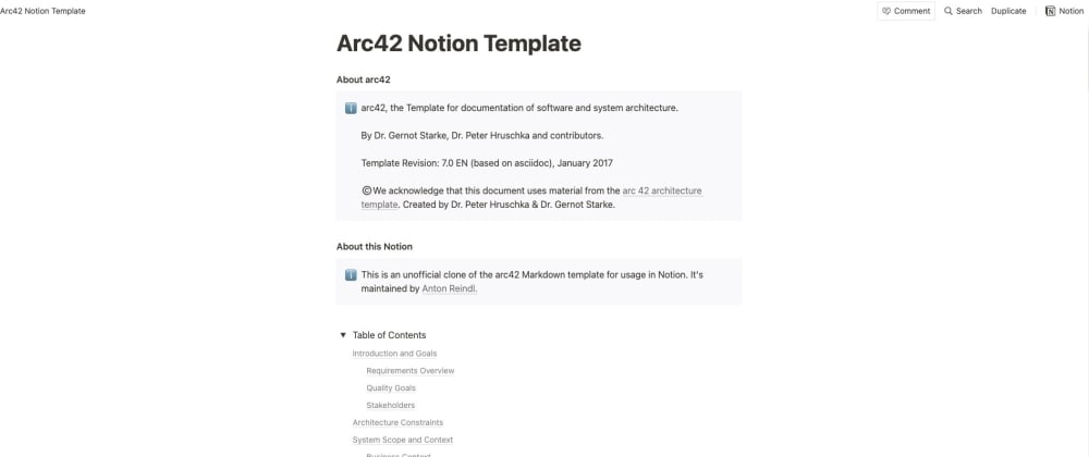 Cover image for Software Architecture Documentation - The arc42 Notion Template