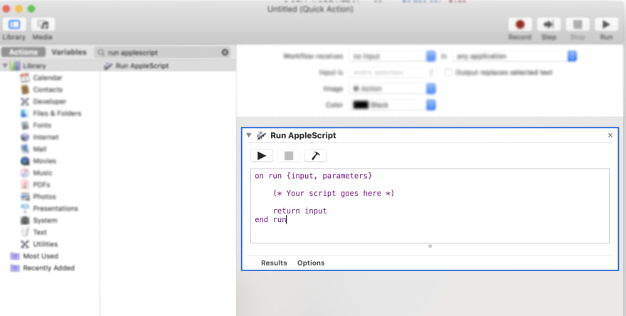 Run AppleScript page