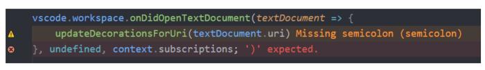 Error lens extension for vscode