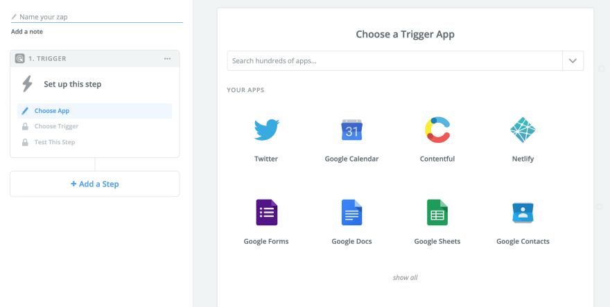 Start screen to create Zap