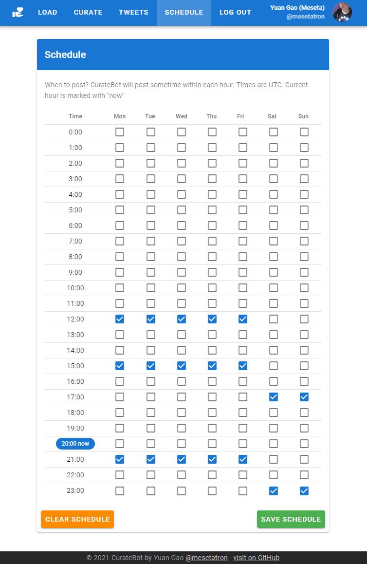 Full screenshot of Schedule