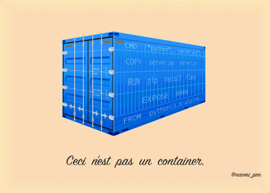 Photoshopped version of René Magritte's painting 'The Treachery of Images'. A container is in the middle and underneath it reads 'Ceci n'est pas un container' (This is not a container).
