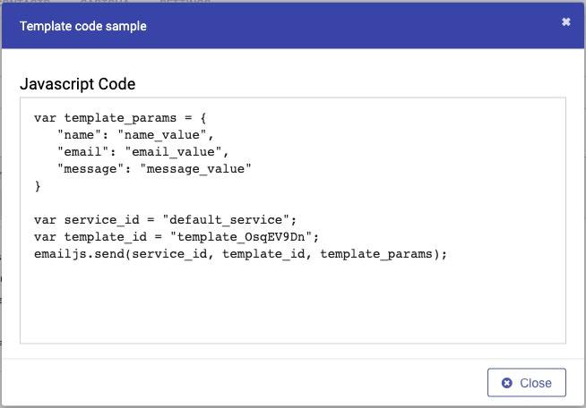 EmailJS template copy code output