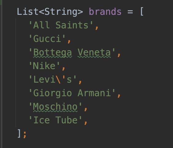 Dummy data lists