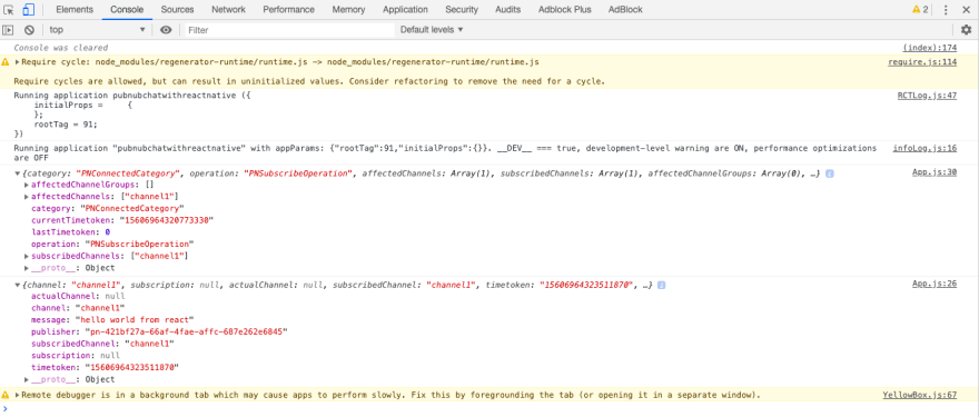 JS Chrome Debugger with PubNub Messages