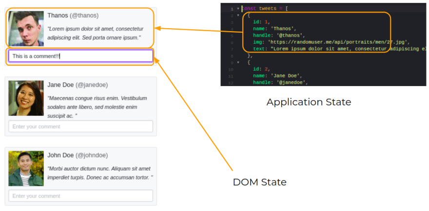 DOM state and application state