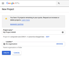 new project in Google API console