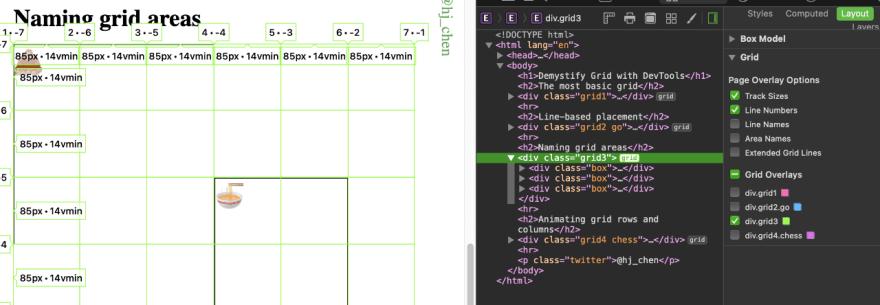 Safari's Grid inspector's interface in DevTools