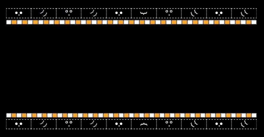 ugly black sweater. It has a row white stitching to make boxes. Under that a row of alternating square of orange and white.