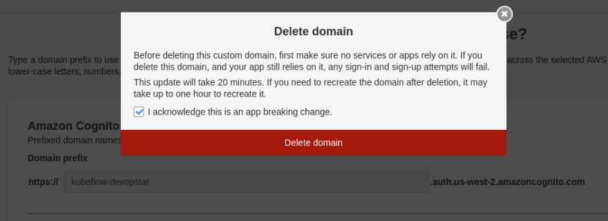 Cognito delete domain