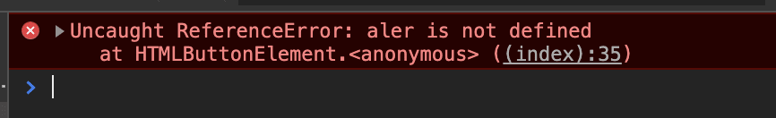 aler is not defined screenshot