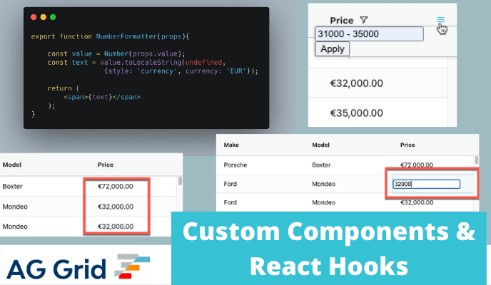 Customising React Data Grid with hooks and functions