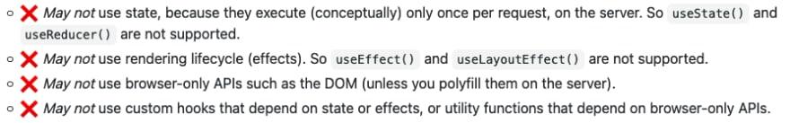 List of Server Components limitations