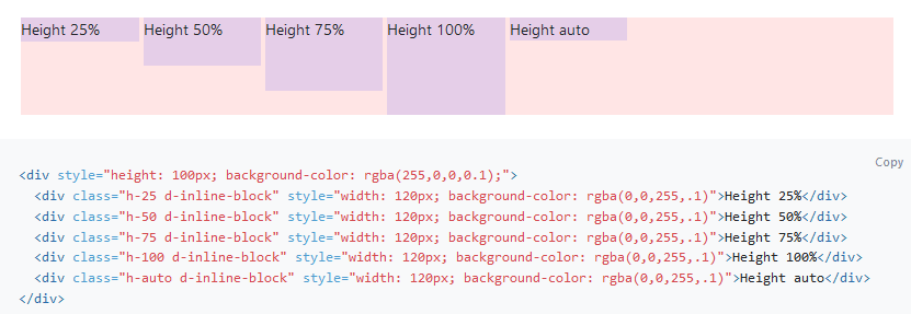 Bootstrap's default height classes