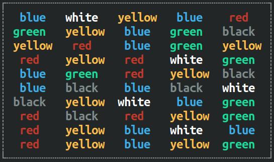 Color word box - congruent stimulus