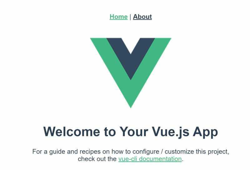 Landing page of the default Vue router project