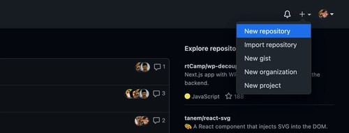 "Screenshot of GitHub's ""New repository"" button"