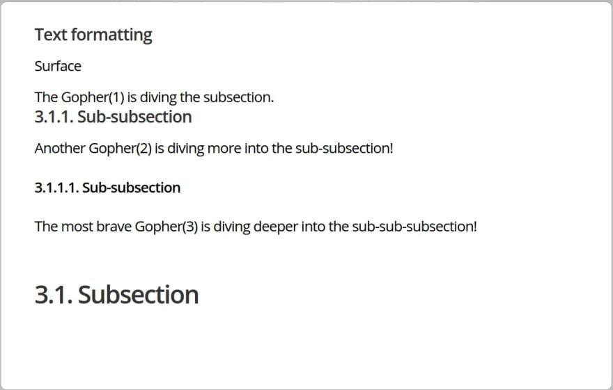 text formatting subsections