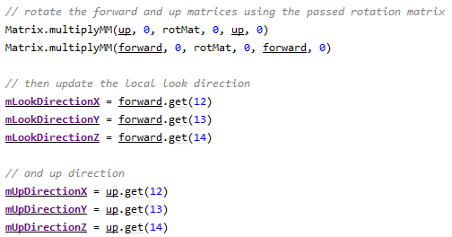 rotating the forward and up matrices and setting local variables