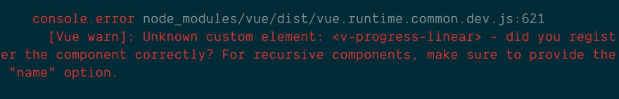 Vue console error for using a globally registered component that could not be found