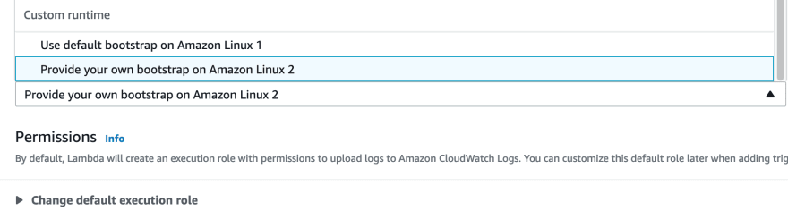 """choosing """"Custom runtime > Provide your own bootstrap on Amazon Linux 2"""" on AWS Console"""