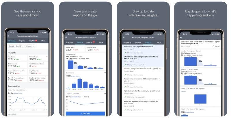React Native apps: Facebook Analytics app screenshots