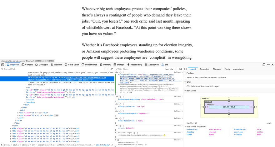 a medium article viewed in firefox, with the dev tools open. There are no link underlines visible in the post