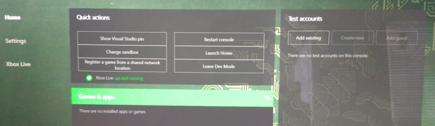 Cropped photo of Xbox Dev Mode running on Xbox One