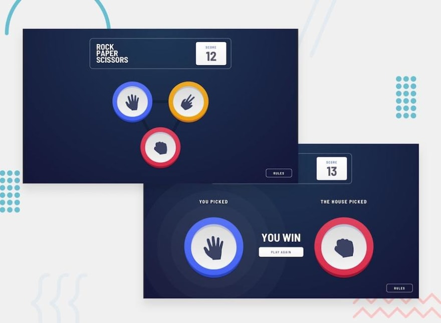 Design preview for the Rock, Paper, Scissors game challenge