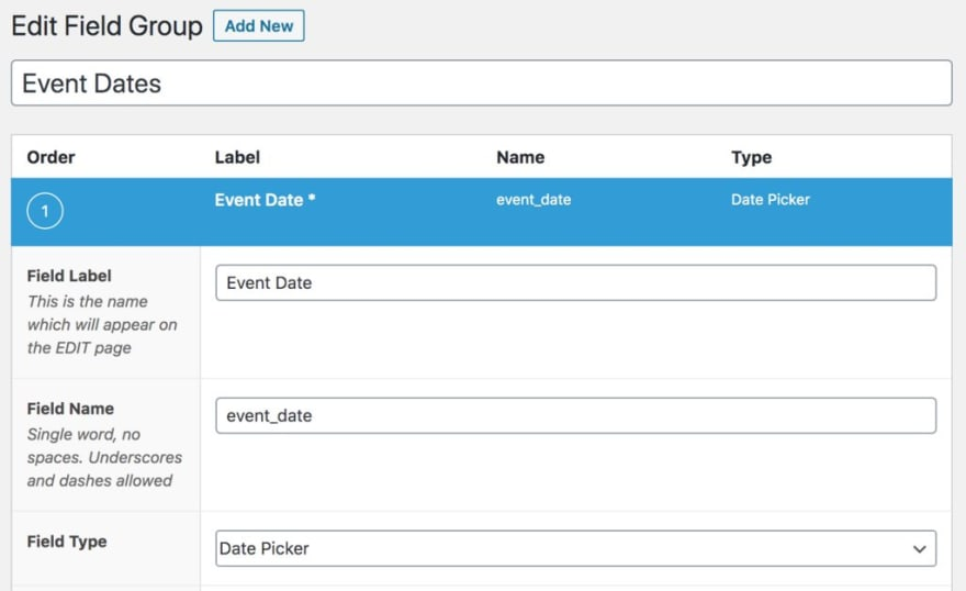 Advanced Custom Fields for Event Date Example