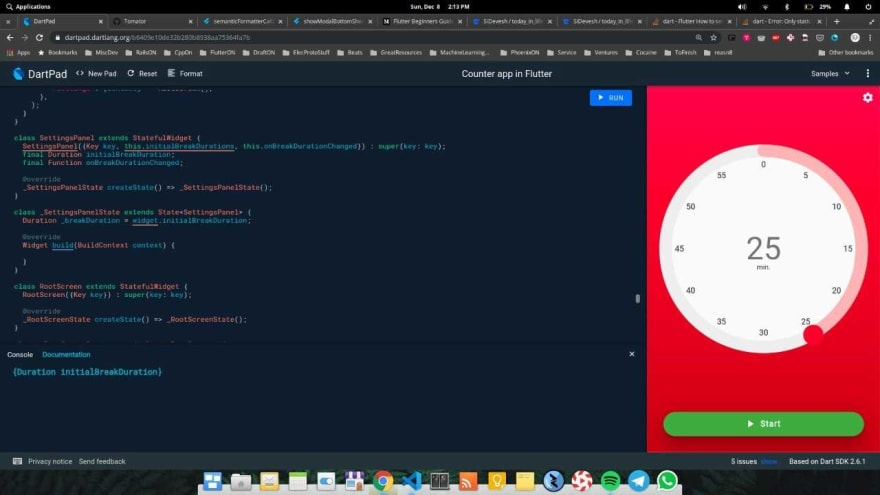 Screenshot of DartPad, building the Flutter app UI