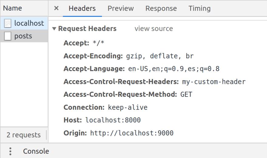 Preflight request header